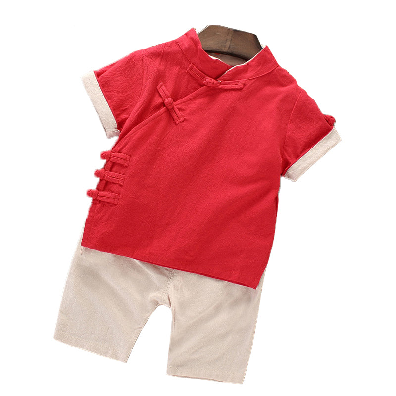 TZ031 Boys Traditional Chinese 2 pc Kungfu Set - Red