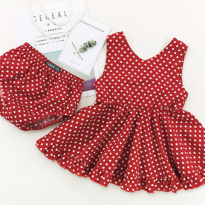 KOR077 New Baby Toddler Girls Red Swing Dress with Bloomers