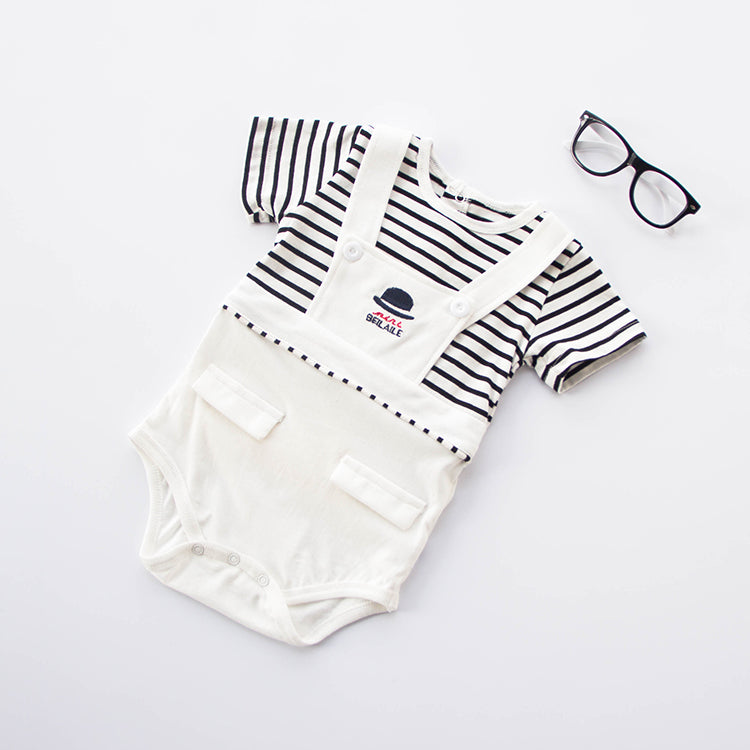 KOR091 New Baby Boys Suspender Romper