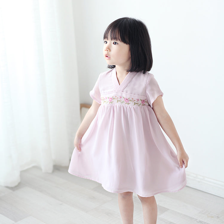 CS087 Toddler Girls Traditional Chinese Dusty Rose Pink Cheongsam Dress