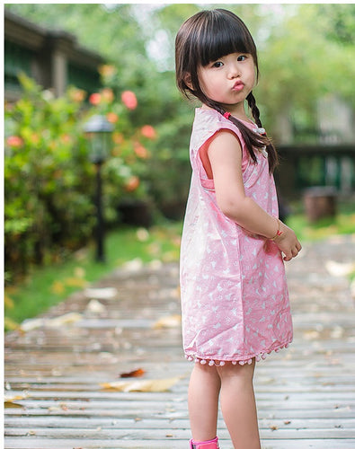 d86c3017593 CS070 Girls Pink Bunnies Traditional Qipao Cheongsam with Poms Poms