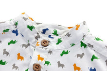 TZ032 Next Toddler Boys Mandarin Collar Doggy Top Shirt