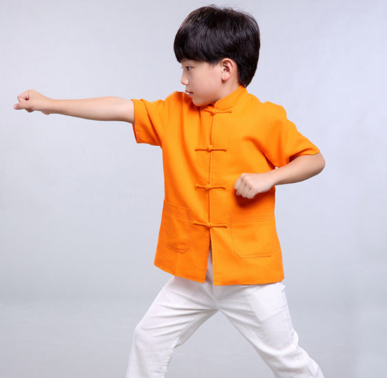 TZ015 New Toddler Boys Orange Top CNY Tangzhuang Traditional Shirt