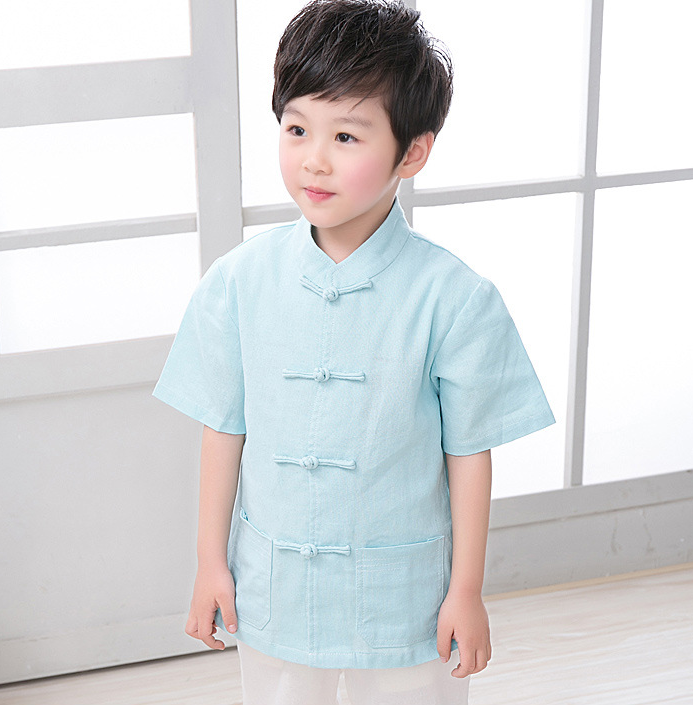 TZ021 New Toddler Boys Turquoise Top CNY Tangzhuang Traditional Shirt
