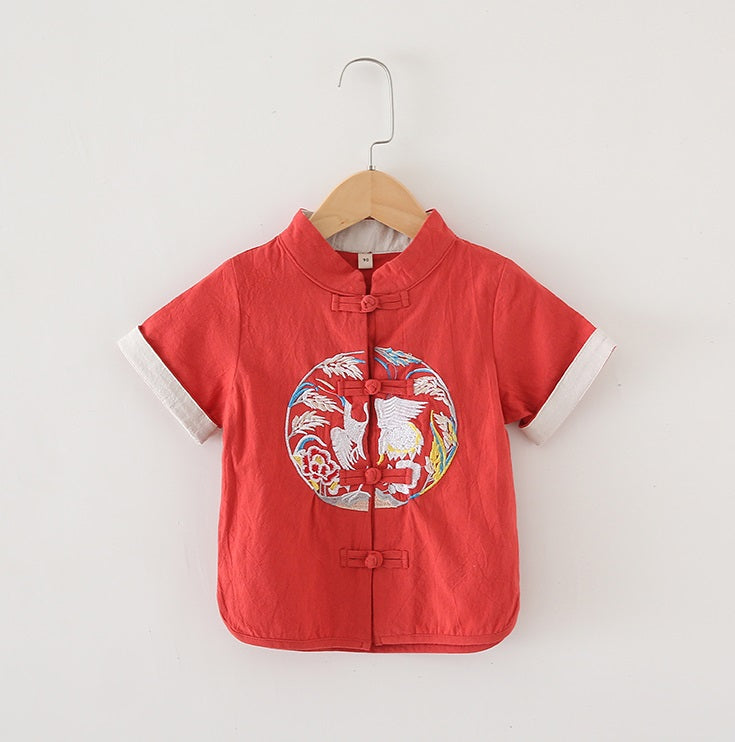TZ042 Boys Mandarin Collar Traditional Kungfu Top Shirt Embroidered Crane