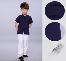 TZ016 New Toddler Boys Navy Top CNY Tangzhuang Traditional Shirt