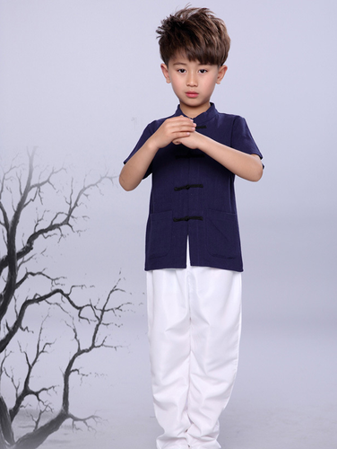 688aec8a TZ016 New Toddler Boys Navy Top CNY Tangzhuang Traditional Shirt