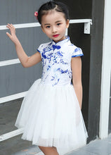 CS057 Toddler Girls Blue Cheongsam Tulle Dress