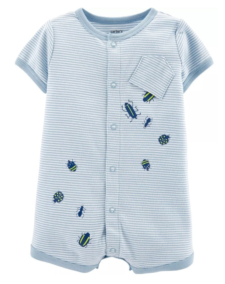 CABY151 Carter's Baby Boys Striped Crawlies Snap-Up Romper