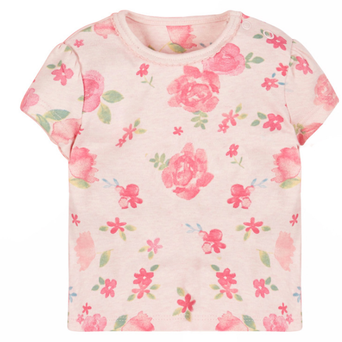 JB011 Toddler Girls Pink Shabby chic Rose Tee