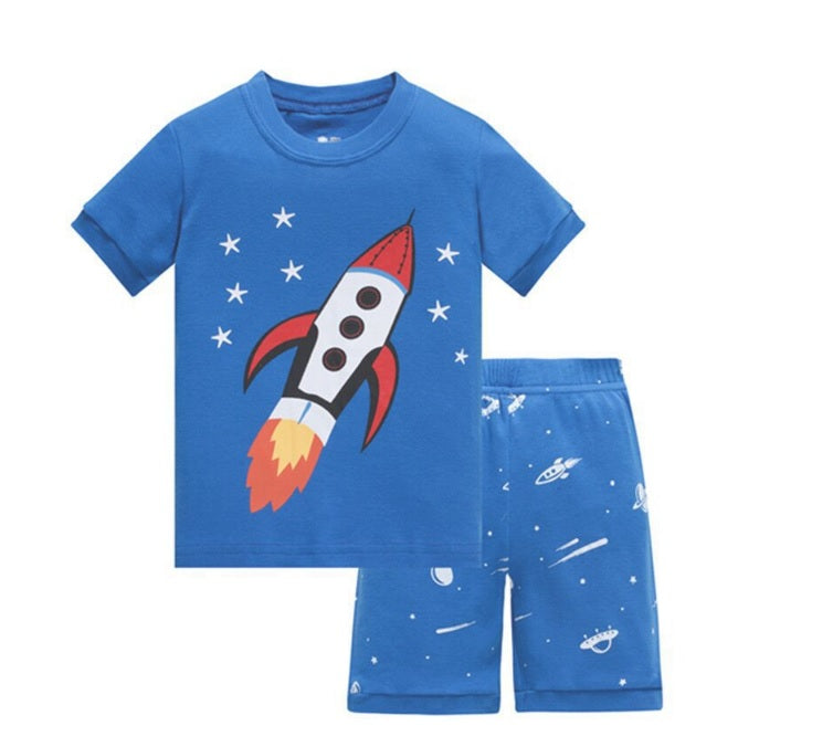 KOR167 Toddler Kids Short Pajamas PJs Sleepwear - Rockets