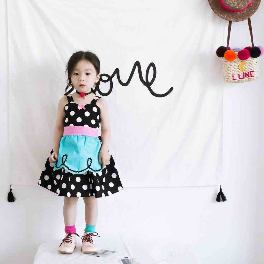 KOR048 Girls Whimsical Retro Polka Dot Dress