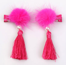 HB014 Little Girls CNY Chinese Pink Pom Pom Tassles Alligator Clippies Clips Set of 2