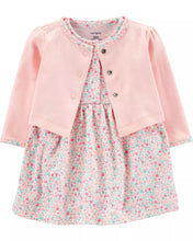 CAGL217 Carter's Baby Girl Floral Dress & Cardigan Set