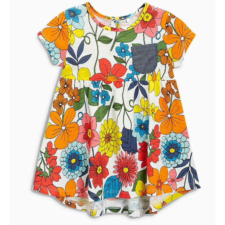 LM025 Girls Flower Power Jersey Dress