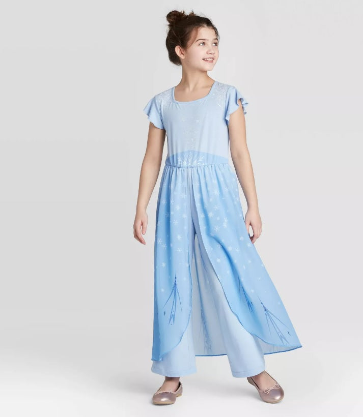 FRA009 New Frozen II Elsa Blue Pants Dress Pantsuit Jumpsuit [Little Gems]