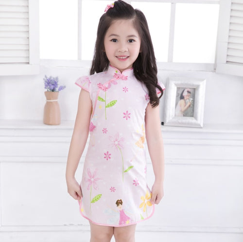 b7752ee3b11 CS029 Girls Garden Fairies Traditional Chinese DRess Cheongsam Qipao - Pink