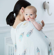 CH016 Infant Muslin Swaddle Blanket Stroller - Feathers