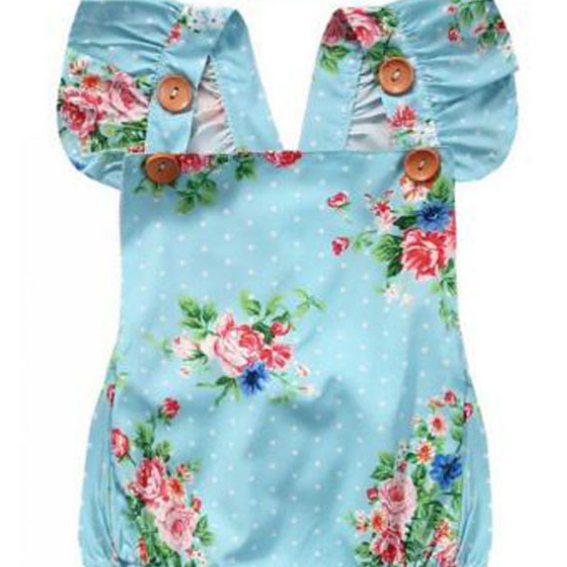 KOR044 Baby Girls Floral 2 pc Romper Set