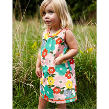 LM028 Girls Flower Power Jersey Dress with Ric Rac Details