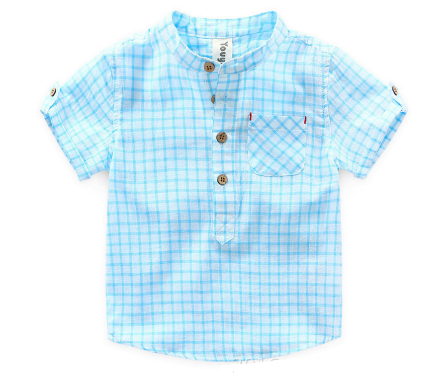 KOR053 Boys Mandarin Collar Blue Checks Top Shirt