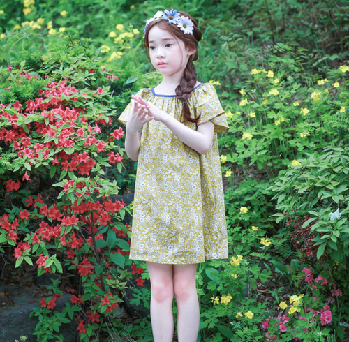 KOR075 Toddler Girls Country Floral Print Dress