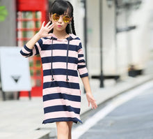 MK002 Mom & Me Striped Jersey Hoodie Dress (2-10Y / Mom)
