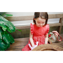 KOR043 Girls Vintage Long Lace Dress Pink