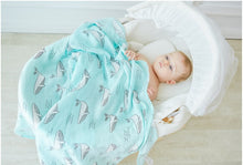 CH016 Infant Muslin Swaddle Blanket Stroller Bamboo - Whales
