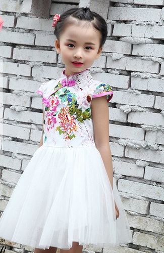 CS075 Toddler Girls Peony Cheongsam Tulle Dress