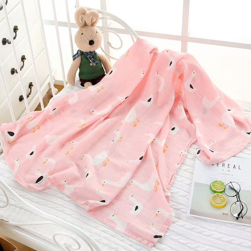CH016 Infant Muslin Swaddle Blanket Stroller Bamboo - Pink Duckies