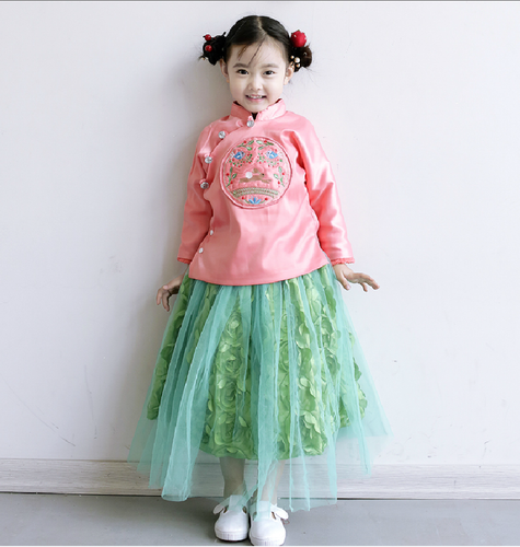 CS027 Premium Girls 2 Pc Traditional Top and Tulle Rosette Skirt  - Lite Pink