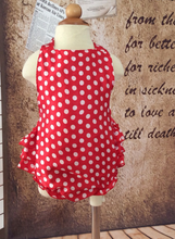 KOR054B New Baby Girl Red Polka Dots Ruffled Halter Romper
