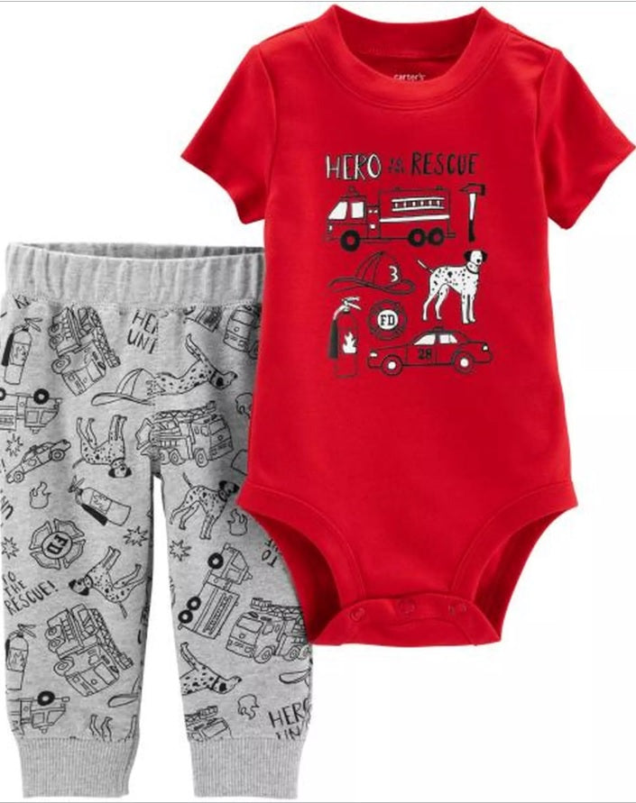 CABY144 Carter's Baby Boys 2-Piece Firetruck Bodysuit Pant Set