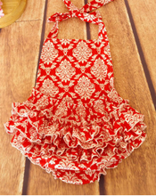 KOR054C New Baby Girl Red Damask Ruffled Halter Romper