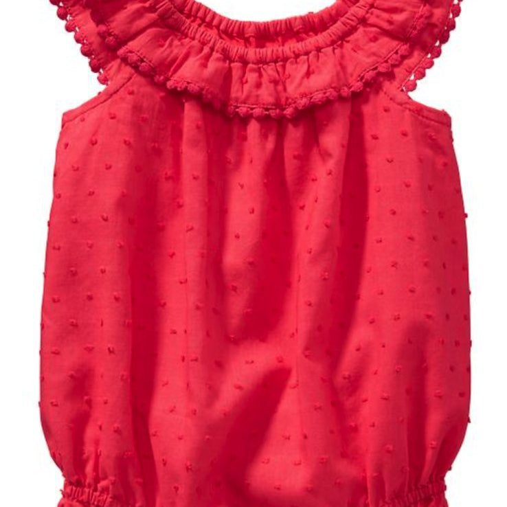 JB004 Baby Girls Red Poms Poms Bubble Romper