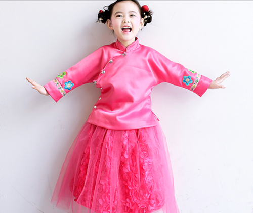 CS027 Premium Girls 2 Pc Traditional Top and Tulle Rosette Skirt  - Dark Pink