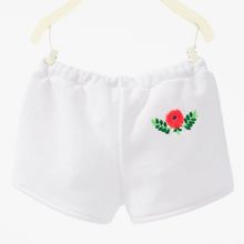 LM029 Girls White Shorts with Embroidery