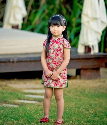 CS074 Girls Red Swans TRaditional Chinese Dress Cheongsam Qipao