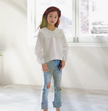 MME3662 Girls  White Eyelet Lace Blouse Shirt