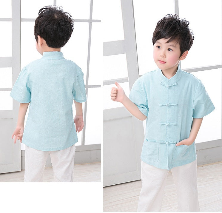 5c5b6a2a ... TZ021 New Toddler Boys Turquoise Top CNY Tangzhuang Traditional Shirt
