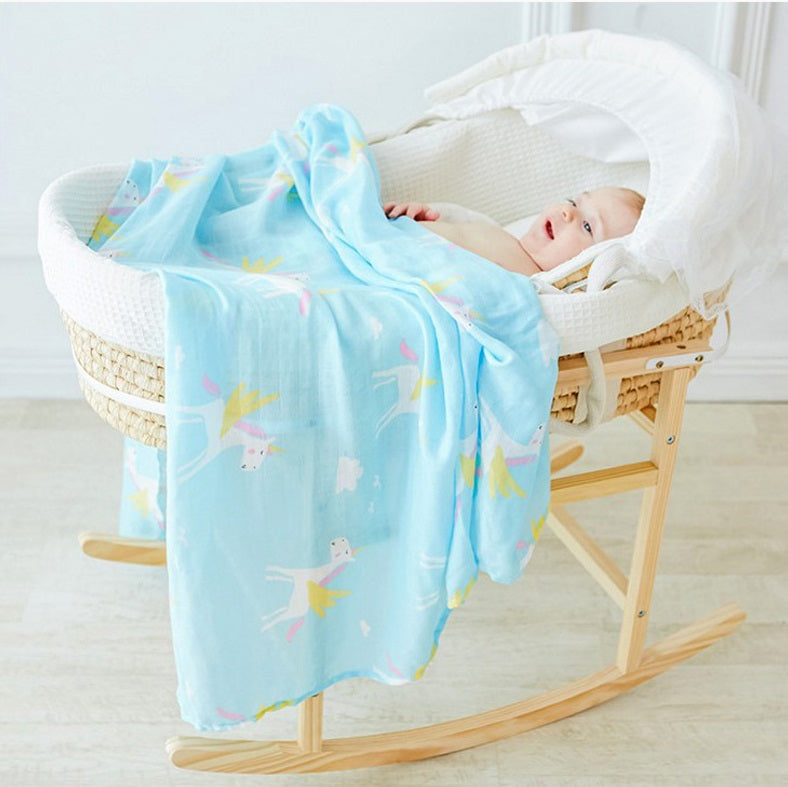CH016 Infant Muslin Swaddle Blanket Stroller Bamboo - Blue Unicorns