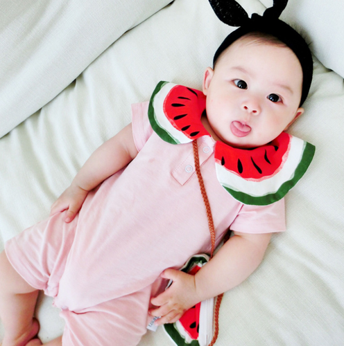 KOR058 New Baby Girl Watermelon Romper w Matching Purse Bag