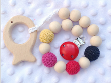 New Baby Infant Wooden and Crochet Beads Pacifier Dummy Toy Clip Leash