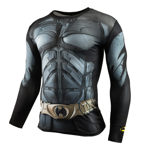 Fitness Compression Shirt Men Superman Bodybuilding Long Sleeve