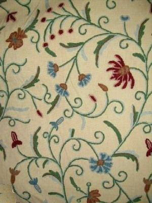 Custom Made Crewel Embroidered Fabric #3326