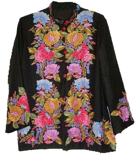 Embroidered Woolen Jacket Black, Multicolor Embroidery #AO-001