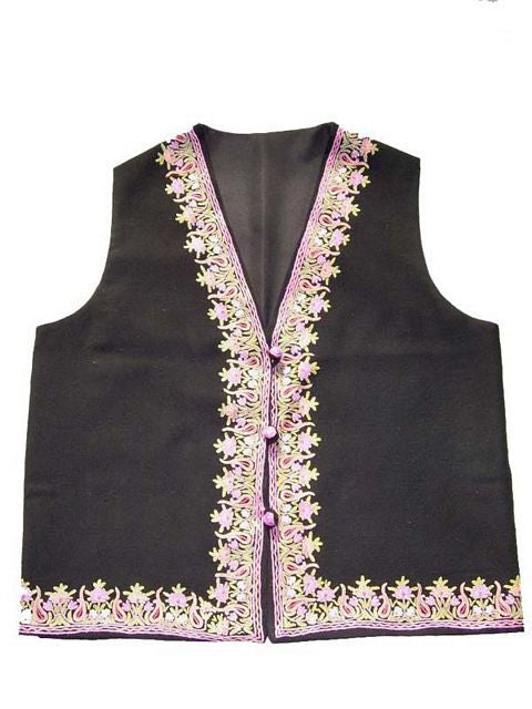 Embroidered Woolen Waist Coat Black, Multicolor Embroidery #AO-076