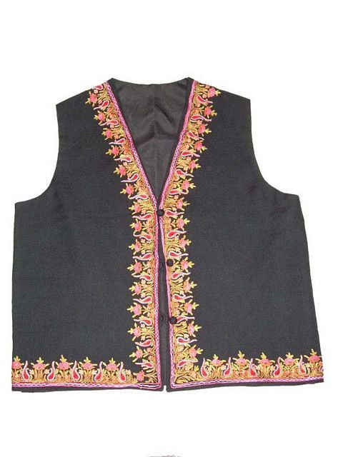 Embroidered Woolen Waist Coat Black, Multicolor Embroidery #AO-077