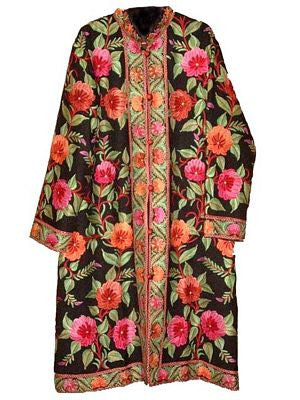 Embroidered Woolen Coat Black, Multicolor Embroidery #AO-103
